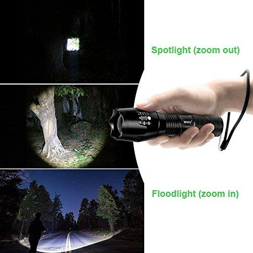 Wsky LED Tactical Flashlight -Best S1800 Powerful Waterproof Flashlight - Perfect For Camping Biking Home Emergency Or Gift-Giving (Batteries Not Included)