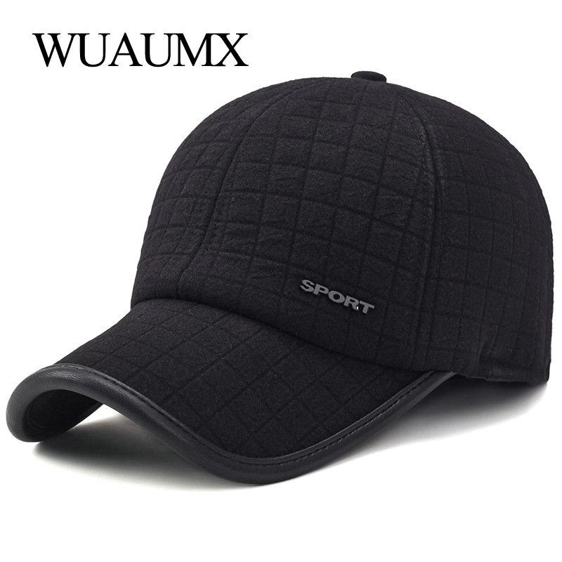 Wuaumx Winter Thicker Baseball Cap For Men With Earflaps Keep Warm Cotton Snapback Cap Men Father Hat Ear Protection Casquette