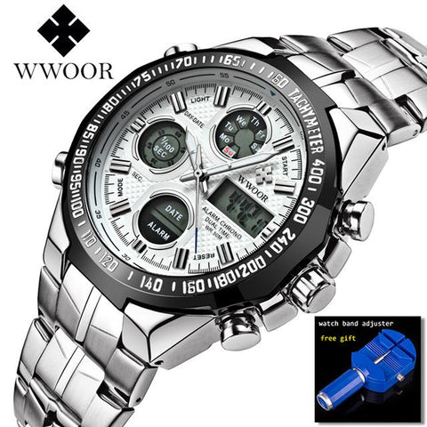 Image of WWOOR Relogio Masculino Top Brand Luxury Watch Men Watches Golden Stainless Steel Military Wristwatch Big Dial Clock Male