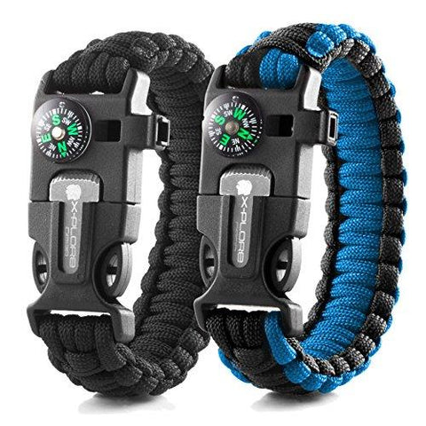 Image of X-Plore Gear Emergency Paracord Bracelets | Set Of 2| The ULTIMATE Tactical Survival Gear| Flint Fire Starter, Whistle, Compass & Scraper/Knife| BEST Wilderness Survival-Kit -- Black(R)/Blue(R)