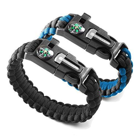 X-Plore Gear Emergency Paracord Bracelets | Set Of 2| The ULTIMATE Tactical Survival Gear| Flint Fire Starter, Whistle, Compass & Scraper/Knife| BEST Wilderness Survival-Kit -- Black(R)/Blue(R)