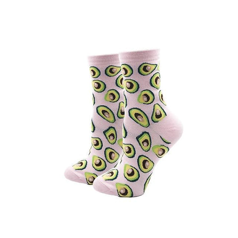 Image of YEADU Women's Socks Japanese Cotton Colorful Cartoon Cute Funny Happy Kawaii Skull Alien Avocado Socks For Girl Christmas Gift