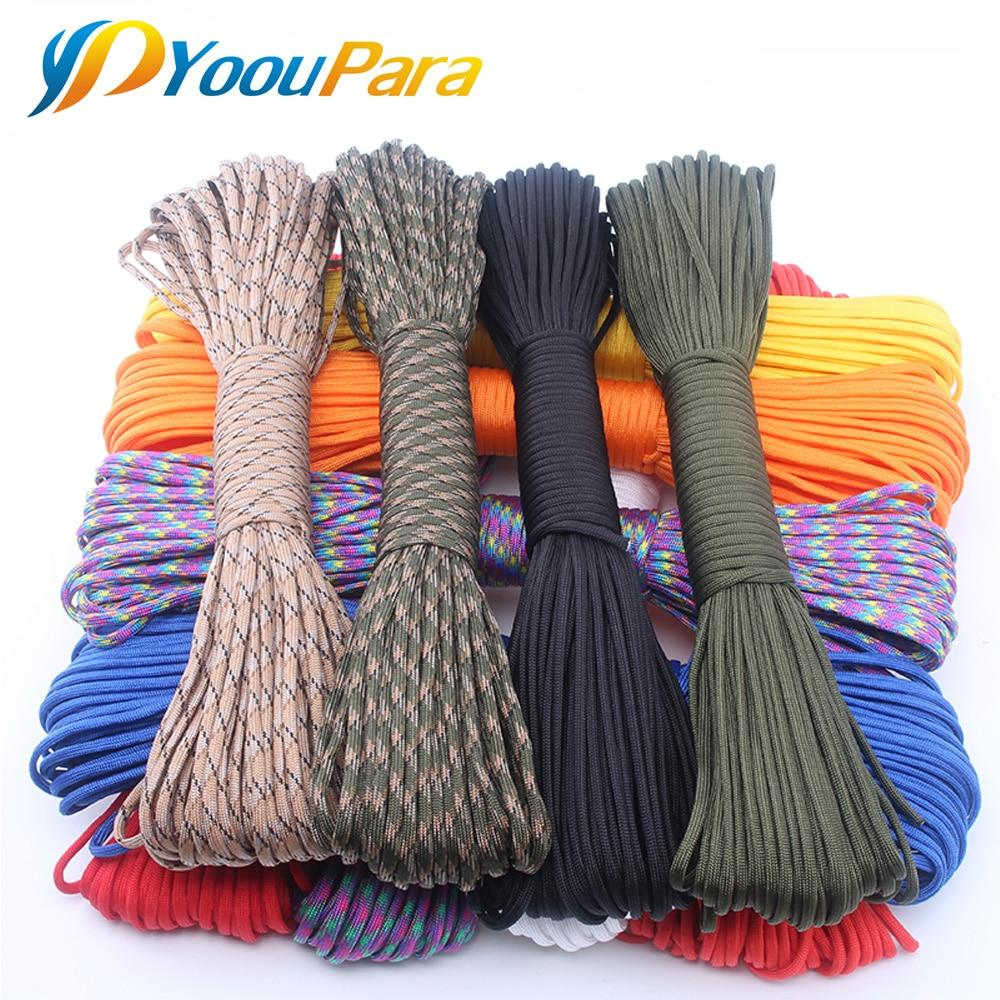 YoouPara 250 Colors Paracord 550 Rope Type III 7 Stand 100FT 50FT Paracord Parachute Cord Rope Survival Kit