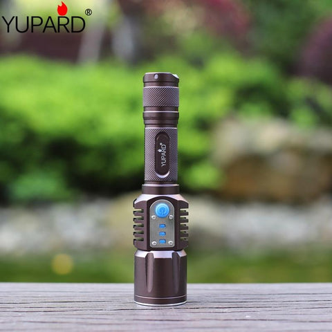 YUPARD XM-L2 Flashlight Torch USB Charge 5 Modes Mobile Power 18650 Battery Intelligent Flashlight