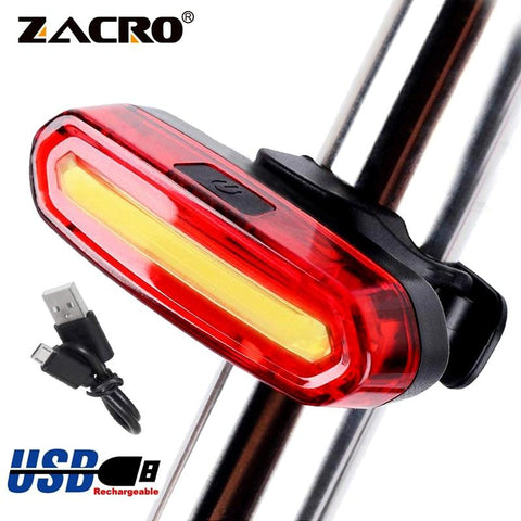 Image of Zacro Bicycle Rear Light Cob Bicycle Led Light Rechargeable USB Safety Taillight Cycling Waterproof Mtb Tail Light Back Lamp