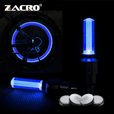 Image of Zacro Tyre Valve Caps Wheel Spokes Led Light Bike Light With Battery Mountain Road Bike Bicycle Lights