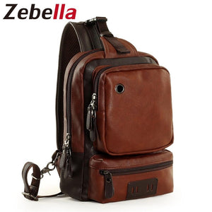 Zebella Men's Shoulder Bag Vintage Men Crossbody Bag Men Chest Bags Casual Fashion PU Leather Men Messenger Bag