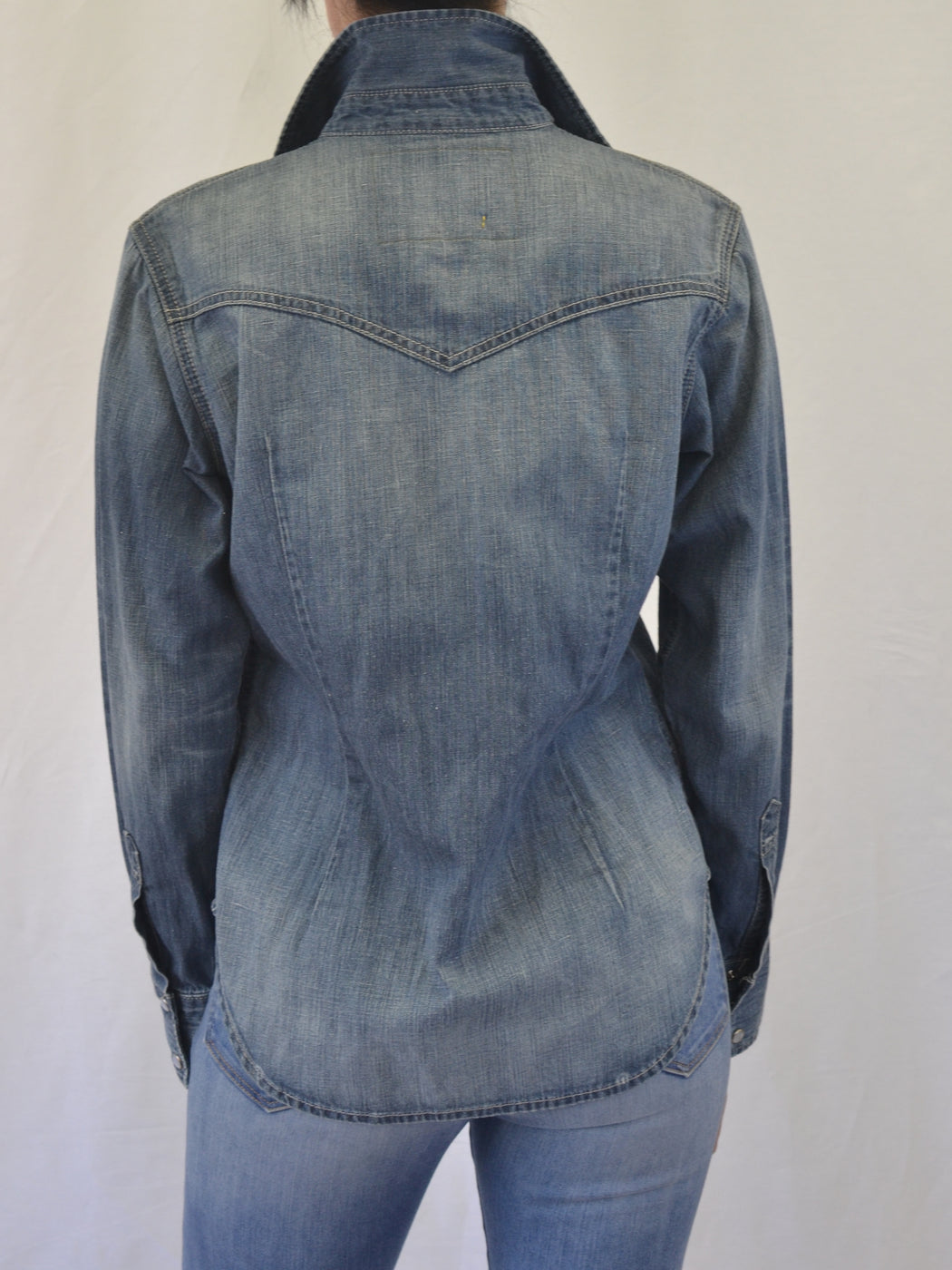 WESTERN COTTON HEMP DENIM SHIRT -Breath Wash