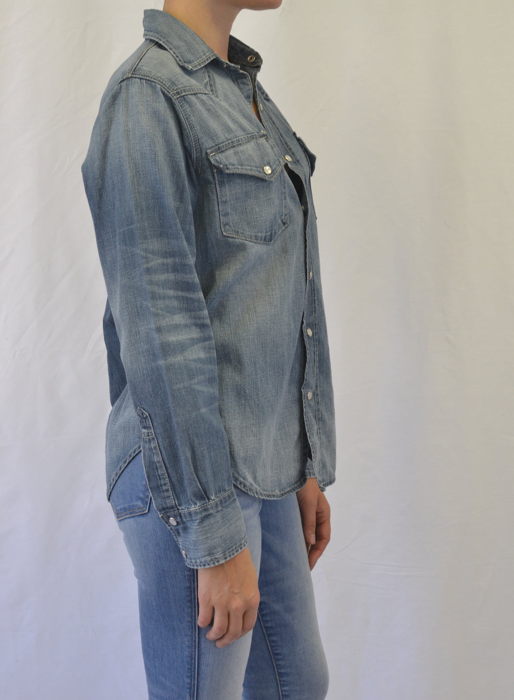 Vital Snap-front Western Denim Shirt -Breath Wash
