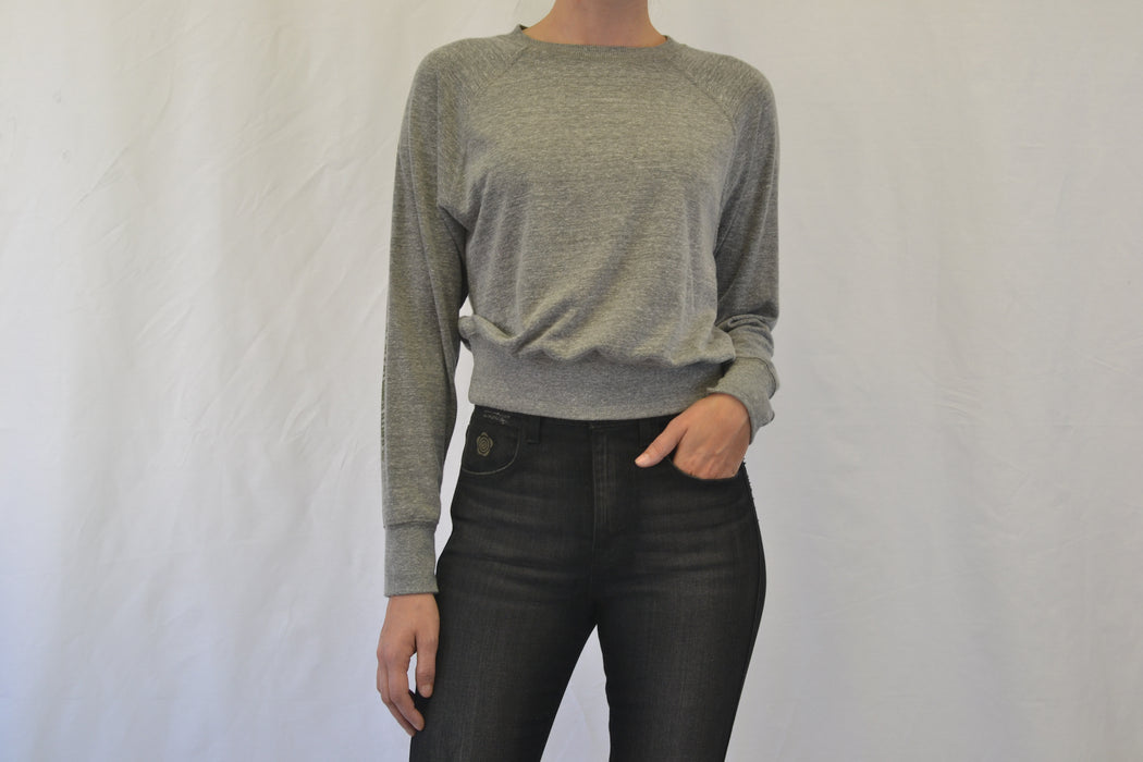 Cropped Raglan Jersey Sweatshirt - Grey Heather