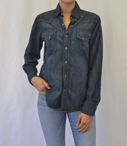 WESTERN COTTON HEMP DENIM SHIRT -Essential Wash