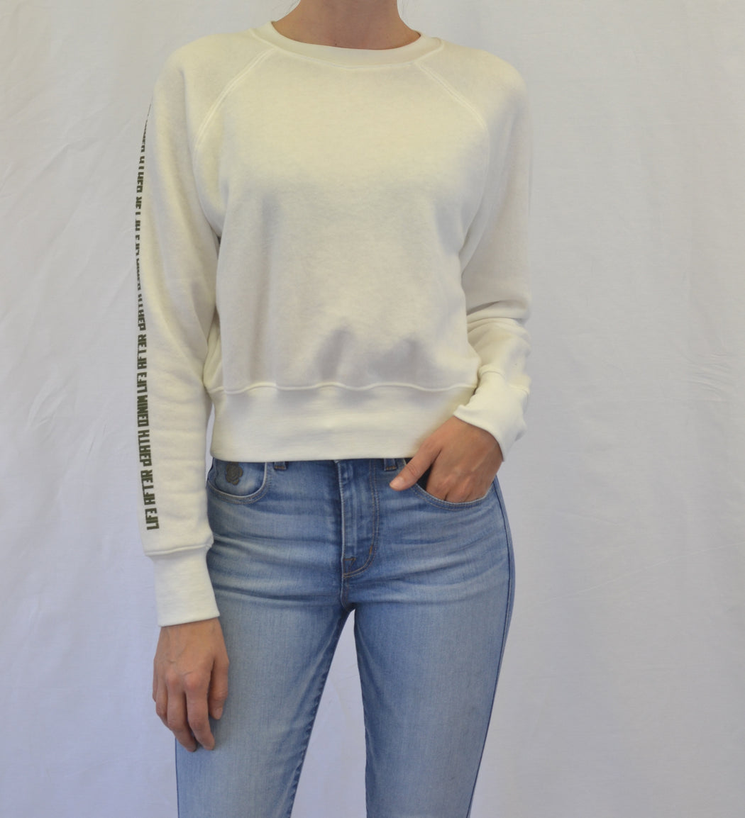 Cropped Raglan Fleece Sweatshirt - White - Organic Cotton / Recycled Polyester