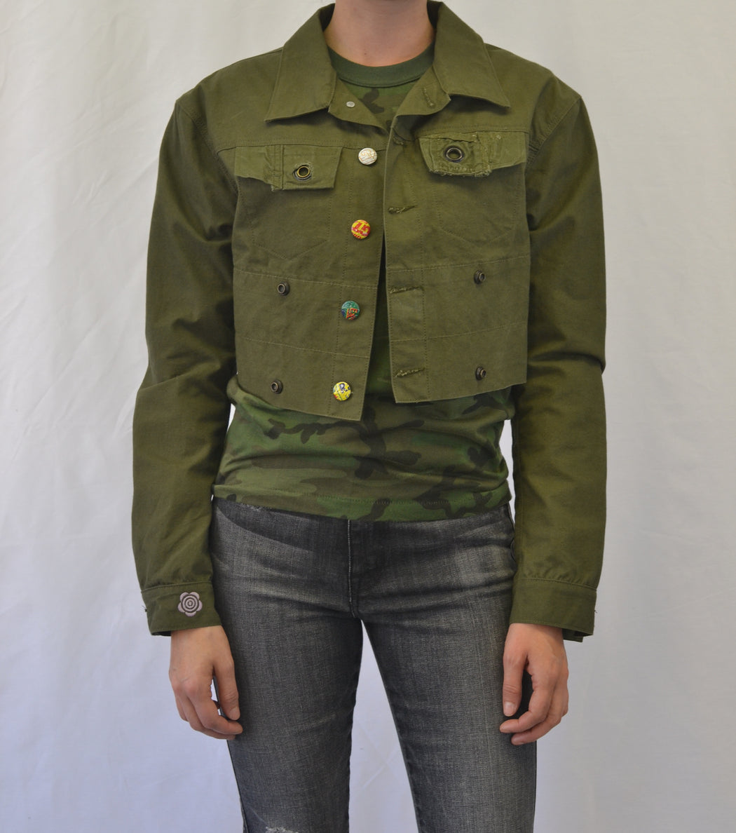 Up-Cycled and Recycled Cropped Army Tent Jacket