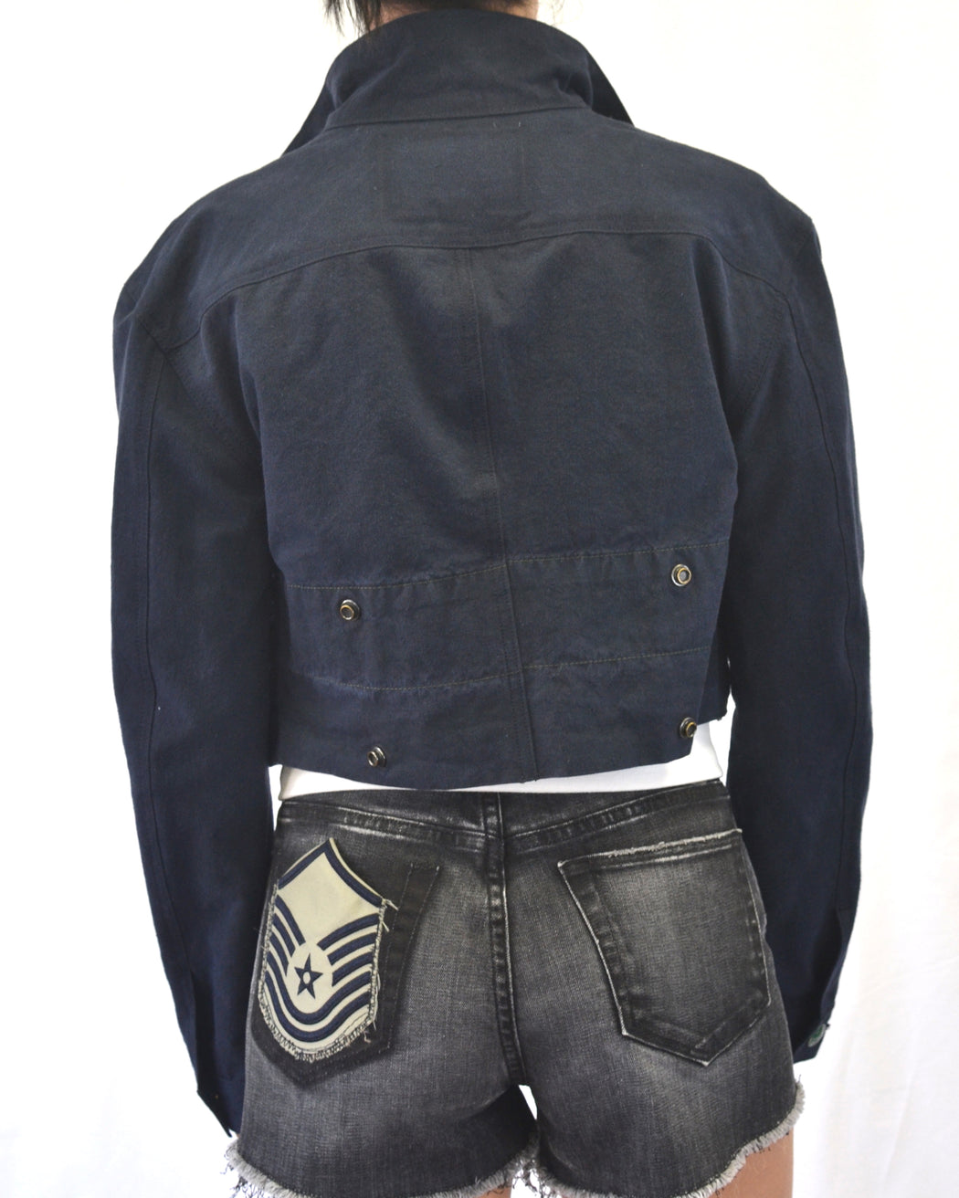 Up-Cycled and Recycled Cropped Army Tent Jacket -Natural Indigo Dyed
