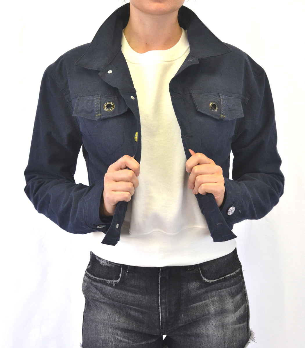 Natural Indigo Dyed- Recycled Cropped Army Tent Jacket