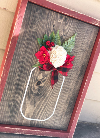 Christmas Mason Jar with Wood Flowers