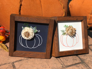Pumpkin Mini Signs with Wood Flower