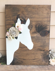 Horse Silhouette with Wood Flowers