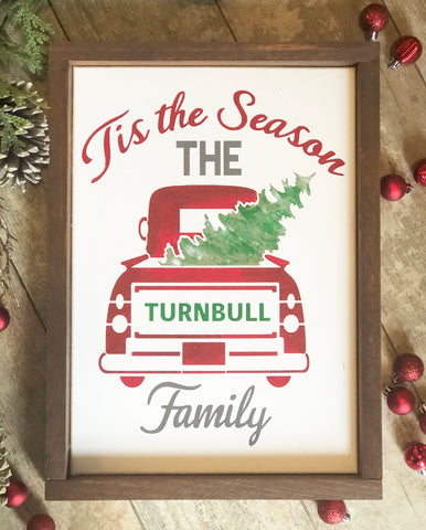 Christmas Truck Family Sign
