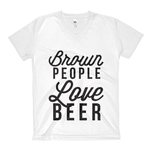 Brown People Love Beer Women's V-Neck T-Shirt