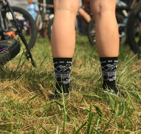 In Search of Singletrack MTB Mountain Bike Sock on a mountain biker