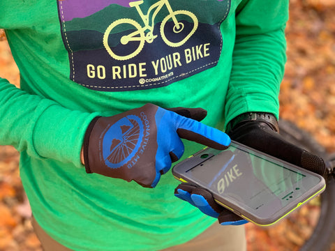 Mountain bike touch screen gloves