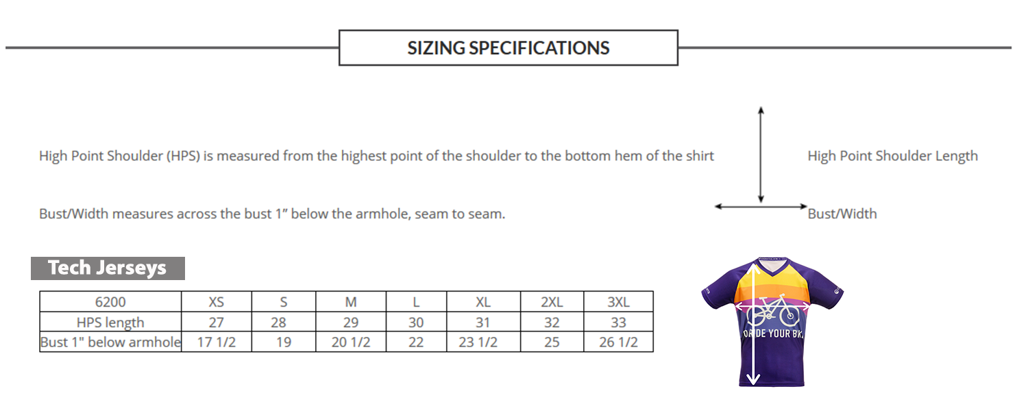 Mountain Bike Jersey Size Chart
