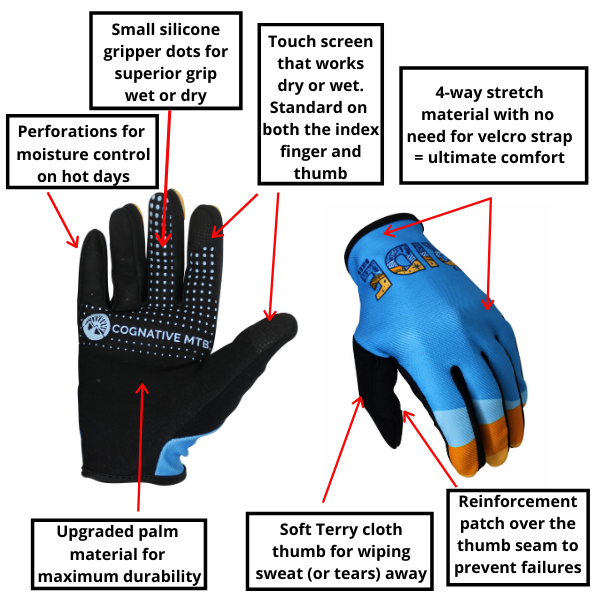 Let's Ride Bikes mountain bike youth glove features