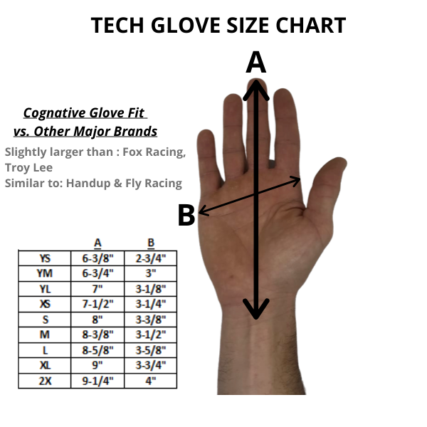 Tech MTB Glove Size Chart