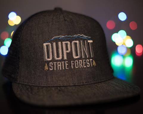 "DUPONT STATE FOREST ""CEDAR ROCK"" BLUE DEMIN TRUCKER HAT"