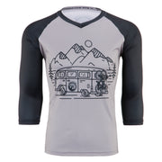 3/4 Sleeve quick drying MTB Mountain Bike Jersey black and grey