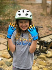 Let's Ride Bikes mountain bike youth gloves on a rider