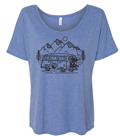IN SEARCH OF SINGLETRACK WOMEN'S SLOUCHY TEE  (HEATHER BLUE)