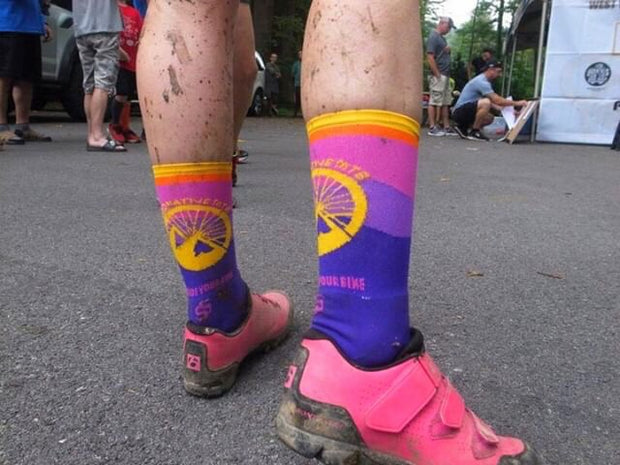 Go Ride Your Bike MTB Mountain Bike Socks on mountain biker