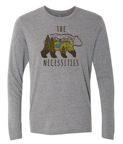 Factory Second - The Bear Necessities Unisex Long Sleeve Shirt (Heather Grey)