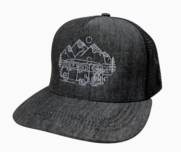 IN SEARCH OF SINGLETRACK - GREY DENIM TRUCKER HAT