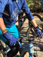 The Bear Necessities Mountain Bike Jersey and gloves