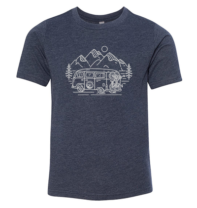 In Search of Singletrack Youth Shirt (Midnight Navy)