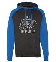 THE BEAR NECESSITIES UNISEX HOODIE (HEATHER BLUE/CHARCOAL)