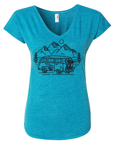 IN SEARCH OF SINGLETRACK WOMEN'S SHIRT  (GALAPAGOS BLUE)