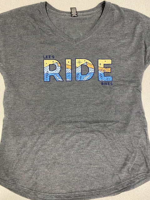 *BLEM (L only) LET'S RIDE BIKES WOMEN'S MTB SHIRT  (HEATHER CHARCOAL)