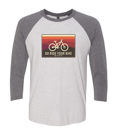Factory Second - Go Ride Your Bike 3/4 Unisex Raglan Shirt (Horizon)