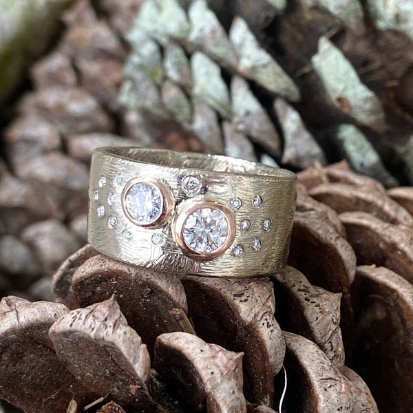 Custom Stories: A Statement-Making Rose & White Gold Diamond Band Mary Frances Maker