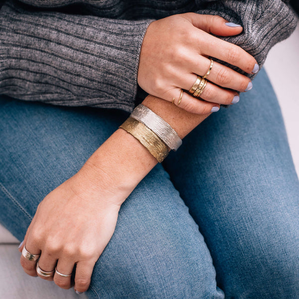Birch Skinny Cuff, Brass Mary Frances Maker