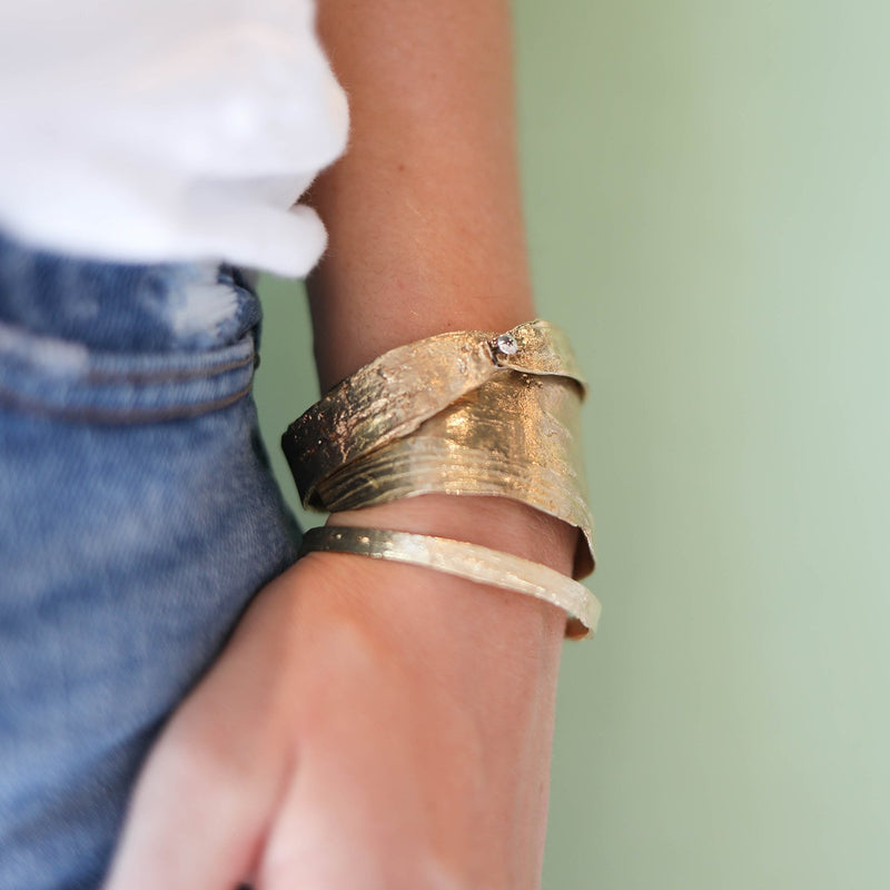 Birch Wide Bangle, Brass Mary Frances Maker