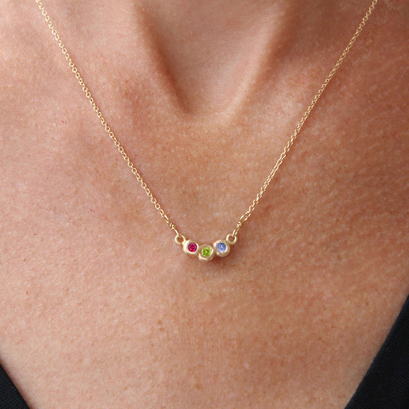 Semi-Custom Family Birthstone Necklace, 3 Stones Mary Frances Maker