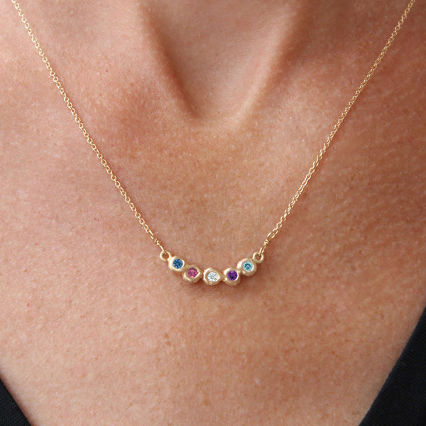 Semi-Custom Family Birthstone Necklace, 5 Stones Mary Frances Maker