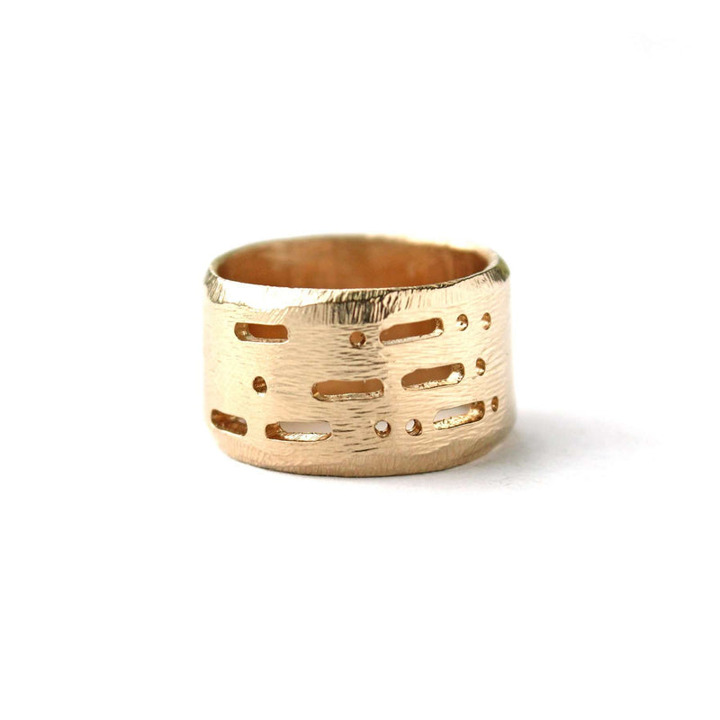 Semi-Custom Morse Code 12MM Ring, Gold Mary Frances Maker