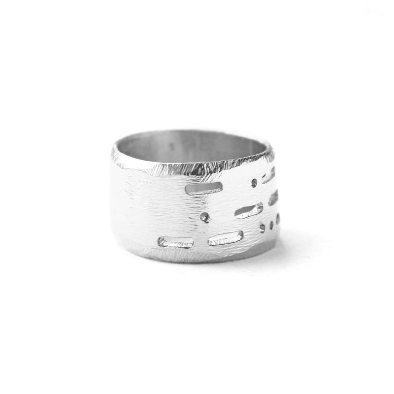 Semi-Custom Morse Code 12MM Ring, Silver Mary Frances Maker