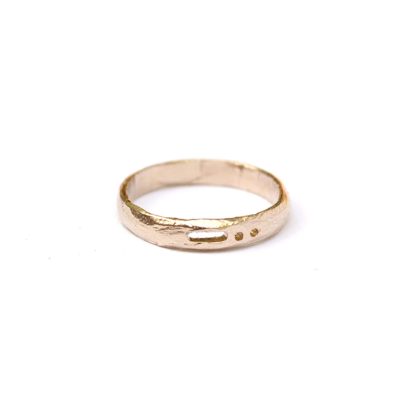 Semi-Custom Morse Code 3MM Ring, Gold Mary Frances Maker
